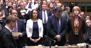 MPs in the House of Commons prepare to announce the result of a vote on whether Theresa May's government is in contempt of parliament. Photograph: PA Wire