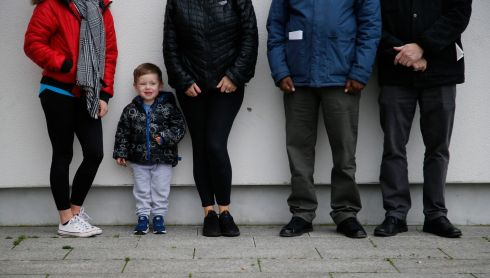 Homeless in Tallaght are (from left) Stephanie & Carter (3) Yeates; Catherine Smith; Ismail Olujoog with Cllr Brian Leech.  Photograph: Nick bradshaw
