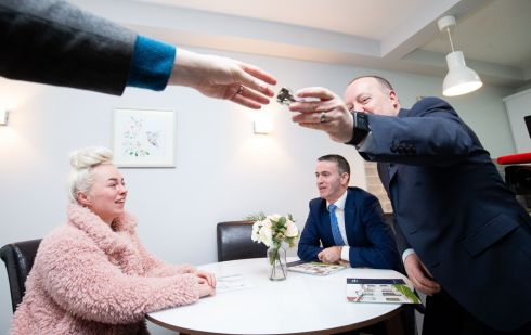At the launch of the Peter McVerry Trust Annual Report in Castle Court Apartments, Castle Street, Dublin 2. Joanne Tobin in her new apartment with  Minister of State for Housing Damien English and chief executive of the Peter McVerry Trust  Pat Doyle. Photograph: Tom Honan
