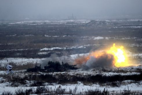 A howitzer is fired during military exercises in the Ukrainian Ground Forces training centre near Honcharivske in Chernihiv region, Ukraine. Photograph: Valentyn Ogirenko