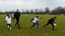 All Star footballers Conor McManus of Monaghan and Ryan McHugh of Donegal with members of the Philadelphia GAA Club during a coaching session   in Limerick Field, Philadelphia. Photograph:  Ray McManus/Sportsfile