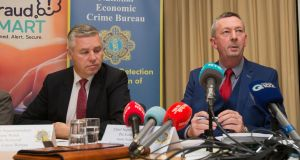Det Supt Gerard Walsh of the Garda National Economic Crime Bureau and Chief Supt Pat Lordan.  Det Supt Gerard Walsh says money laundering carries up to 14 years in prison. Photograph: Gareth Chaney/Collins.