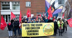 Unite members pictured outside  Grafton College in Dublin on Tuesday. Photograph: Tom Honan/The Irish Times