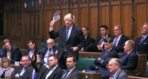 Boris Johnson  speaks in the House of Commons at the start of a five-day debate on Theresa May's Brexit deal. Photograph: PA Wire