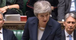 Prime minister Theresa May speaks in the House of Commons at the start of a five-day debate on her Brexit deal. Photograph: PA Wire