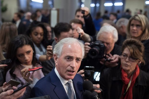 Senator Bob Corker speaks to the media after the classified briefing by CIA Director Gina Haspel on December 4th. A bipartisan group of senior senators have said that the briefing has only solidified their belief that Mohammed bin Salman, the crown prince of Saudi Arabia, ordered the killing of Saudi dissident Jamal Khashoggi Photograph: Tom Brenner/The New York Times