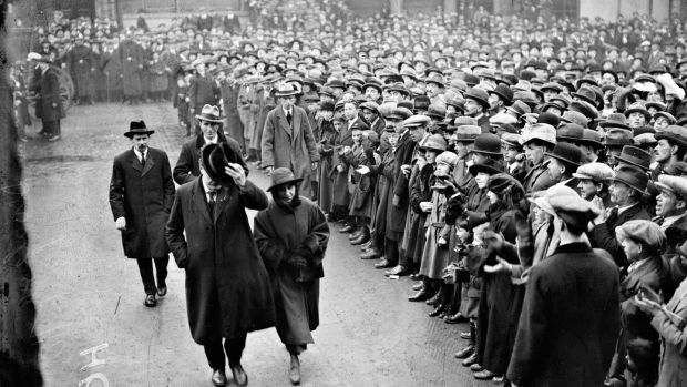 Sinn Féin delegates entering the Mansion House, Dawson Street, Dublin, to attend the first sitting of the first Dáil Éireann on January 21st, 1919. Photograph: National Library