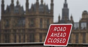 A road sign  on Westminster Bridge in London. Photograph: EPA/Andy Rain