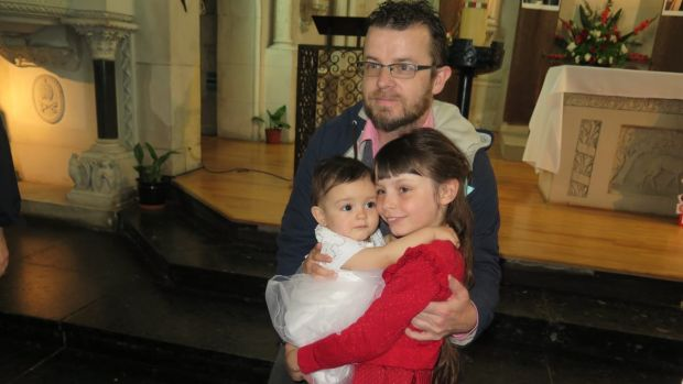 Bobby O'Donoghue with his daughter Gabriella Tiana Yacriti O'Donoghue, in the red dress, and his niece Sofia Ema Yacriti