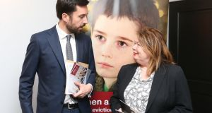 Minister for Housing Eoghan Murphy with Aideen Hayden, chair of Threshold today at the launch of Threshold's 2017 Annual Report. Photograph: Sasko Lazarov/Photocall Ireland
