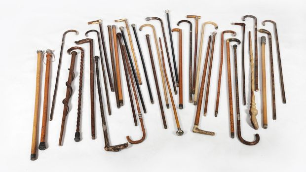 A selection of interesting walking sticks from O'Sullivan Antigues, Francis St, Dublin.