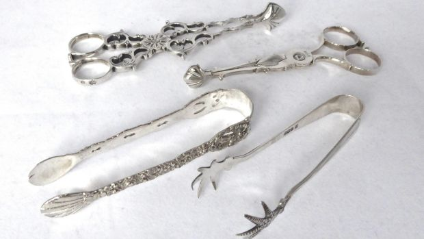 Selection of sugar tongs, nips and asparagas tongs, (from €48-€675), The Silver Shop, Powerscourt Centre.
