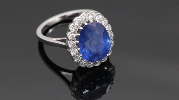 Certified untreated 8.5 carat saphire and diamond ring (€15,950), Courtville Antiques, Powerscourt Centre.