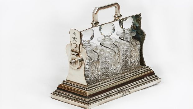 Silver and crystal mid-19th century Tantalus with detailed lock (€1,850), O'Sullivan Antiques, Francis Street, Dublin.