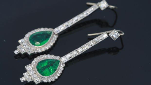 1915 Channel set of French-cut diamond and emerald earrings (€27,000), Weldons, Clarendon Street.