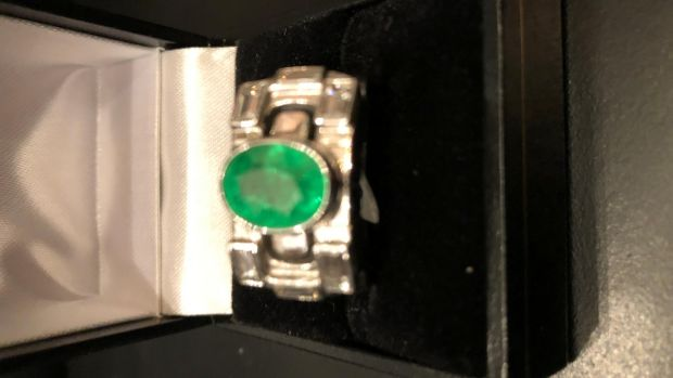 Bvlgari Unisex white gold, 3-carat Emerald and diamond ring, (€5,500) Michael Connell Antiques, Francis Street.