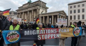 Right-wing protesters rallying against the UN migration pact in Berlin last weekend. Photograph: Markus Heine/EPA