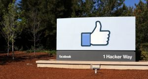 A sign at the entrance to the Facebook World Headquarters in Menlo Park. Photograph: iStock
