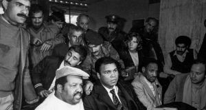 Ali in Beirut in 1985 after he was sent to help secure the release of US prisoners. Photo: Arnaud Borrel/Gamma-Rapho via Getty Images