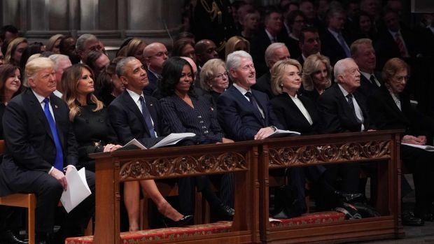 US President Donald Trump, First Lady Melania Trump; former president Barack Obama and Michelle Obama; former president Bill Clinton and Hillary Clinton; former president Jimmy Carter and Rosalynn Carter attend the state funeral of former US president George HW Bush at the Washington National Cathedral in Washington, DC on December 5th Photograph: Mandel Ngan/AFP/Getty