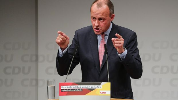 Friedrich Merz, leadership candidate for the CDU), who has been backed by party heavyweight Wolfgang Schäuble. Photograph: Krisztian Bocsi/Bloomberg
