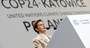 The prime minister of Serbia, Ana Brnabic, speaking during the COP24 UN climate change conference  in Katowice, Poland, on December 3th, 2018. Photograph: Reuters/Kacper Pempel