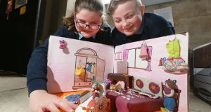 Megan Conneely and Cian Colgan from The Downs National School, Mullingar were part of a group entry of fifth and sixth class pupils announced as overall winner of the 'Someone Like Me' national art competition. Photograph: Finbarr O'Rourke