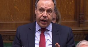 "Nigel Dodds said the advice of the British attorney general Geoffrey Cox QC ""vindicates the DUP opposition to the backstop"" and was ""devastating for the prime minister"". Photograph:  AFP/Getty Images"