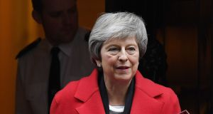 British prime minister Theresa May: met Conservative backbenchers in her office to listen to their concerns about the backstop. Photograph: Andy Rain/EPA