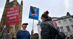 Anti-Brexit demonstrators protest outside  the Houses of Parliament in London yesterday. Neither Brussels nor Dublin will offer any concessions ahead of the Brexit vote to help British prime minister Theresa May win it. Photograph:  Ben Stansall/Getty Images