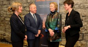 Mary Robinson, Dóchas Lifetime Achievement Award 2018 recipient with  Suzanne Keatinge, right, CEO of Dóchas, Minister Ciaran Cannon TD, and Sharan Kelly, of chair of Dóchas. Photograph: Mark Stedman