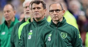 Former Republic of Ireland assistant manager Roy Keane and Republic of Ireland manager Martin O'Neill