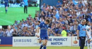 Brian O'Driscoll leaves the field injured in his last match for Leinster, against Glasgow in May 2014. Photograph: Patrick Bolger/Inpho.