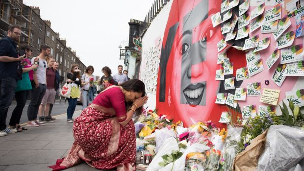 Messages were left at a memorial to Savita Halappanavar in Dublin after the Eighth Amendment was repealed by popular vote in May 2018. Photograph: Tom Honan.