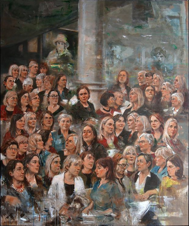 As part of the Votáil100 campaign to mark 100 years of women's suffrage, artist Noel Murphy produced a portrait featuring all 53 female members of the Dáil and Seanad.