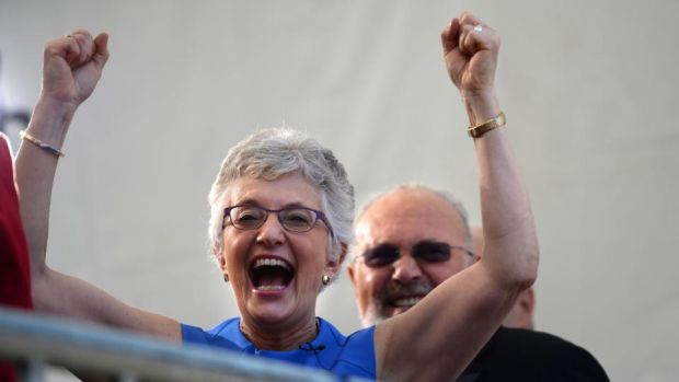 Katherine Zappone at Dublin Castle when the results of the Marriage Equality referendum were read out in May 2015. Photograph: Dara Mac Donaill / The Irish Times