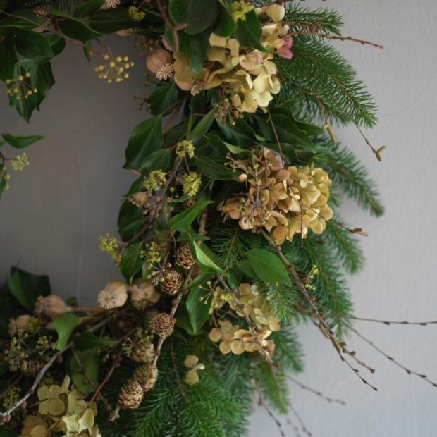 Christmas wreath: I've used dried hydrangea flowers, the ornamental seed -heads of opium poppies, evergreen conifer branches, birch twigs, larch branches with cones attached and seeded wild ivy. Photograph: Richard Johnston