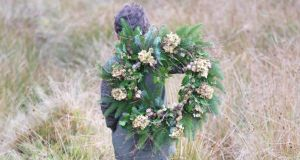 Christmas wreath: everything to make it comes from the wild or from the garden. Photograph: Richard Johnston