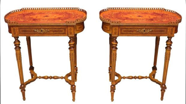 Lot 27 kingwood walnut and marquetry side tables, at Hegarty's