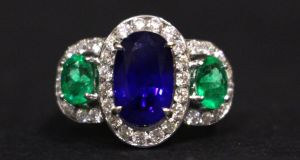 Lot 7 sapphire emerald and diamond ring at Hegarty's