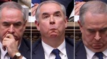 A combination of video grabs from footage broadcast by the UK Parliament's Parliamentary Recording Unit (PRU) shows Britain's attorney general Geoffrey Cox in the House of Commons in London. Photograph: AFP/Getty Images