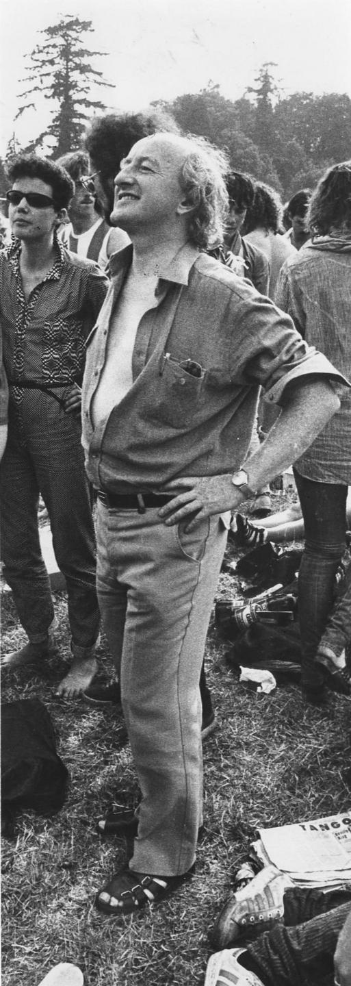 Michael D rocks the open-shirt look at the Bob Dylan concert in Slane Castle in July 1984. Sure you'd think he was in the band. Photograph: Terry Thorp