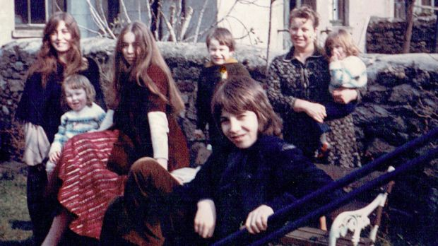 The Griffin family in their back garden in Ardenza in Dublin in 1973. Fergus (aged 13) is in the centre of the photograph, with Bridget, Siobhán, Trish, Brian, and mother Pat holding Aisling.