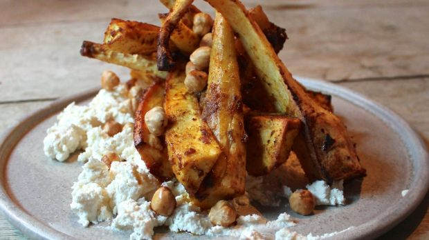 Spiced parsnips, hazels and whipped ricotta