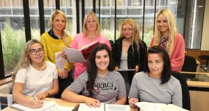 "Students taking part in a ""Think About Teaching"" university foundation course at Maynooth University. (From top left) Anne O'Brien, Wendy Dixon, Temera O'Brien, Emma O'Brien, Aoife O'Reilly, Megan Shannon and Nicola Murphy. Photo: Damien Eagers"