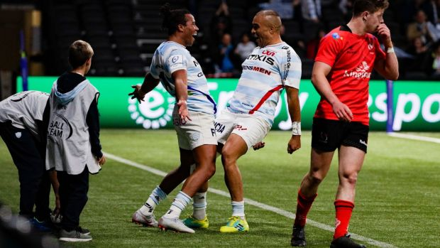 Teddy Thomas and Simon Sebo celebrate a try during their win over Ulster. Photo: Geoffrey van der Hasselt/Getty Images