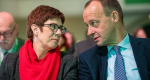 Head to head: Annegret Kramp-Karrenbauer and Friedrich Merz. Photograph: Jens Schlueter/Getty Images