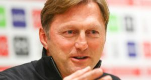 New Southampton  manager Ralph Hasenhüttl during his first press conference at the Staplewood campus  in Southampton, England. Photograph:   Matt Watson