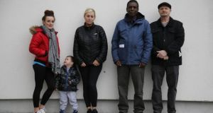 Stephanie Yeates and her son and Carter; Catherine Smith; Ismail Olujoog; and Cllr Brian Leech were at risk of being evicted from transitional housing in Tallaght, Dublin. Photograph: Nick Bradshaw