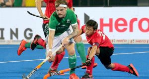 Alan Sothern of Ireland in the match against China. Photograph: Harish Tyagi/EPA